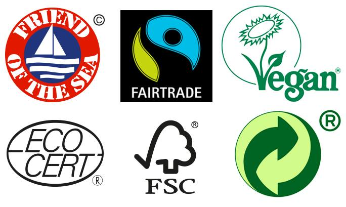 Fairtrade, Ecocert, FSC, Vegan m.fl.